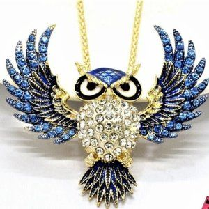 Jewelry - Large Spread Winged Owl Blue Crystal Necklace